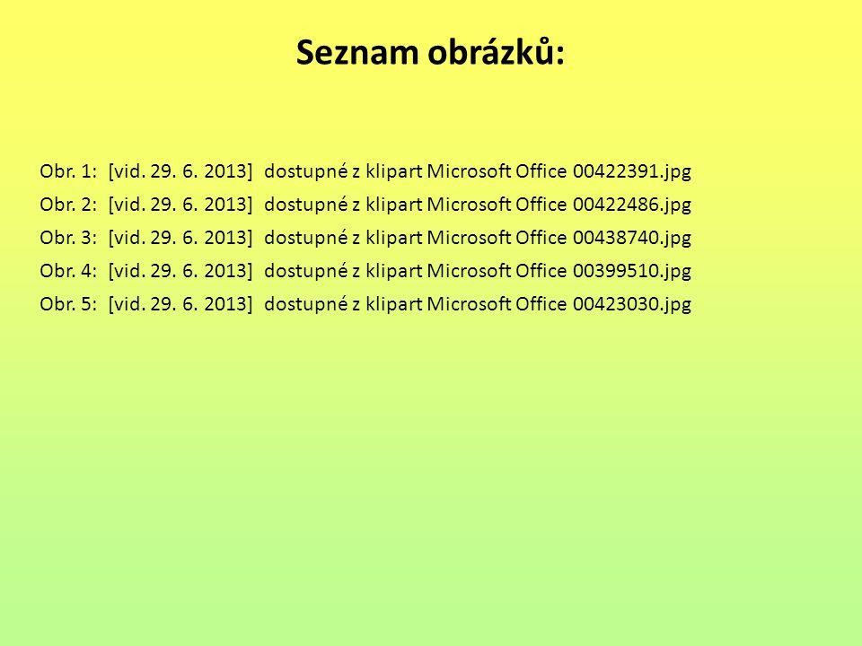 Seznam obrázků: Obr. 1: [vid. 29. 6. 2013] dostupné z klipart Microsoft Office 00422391.jpg.